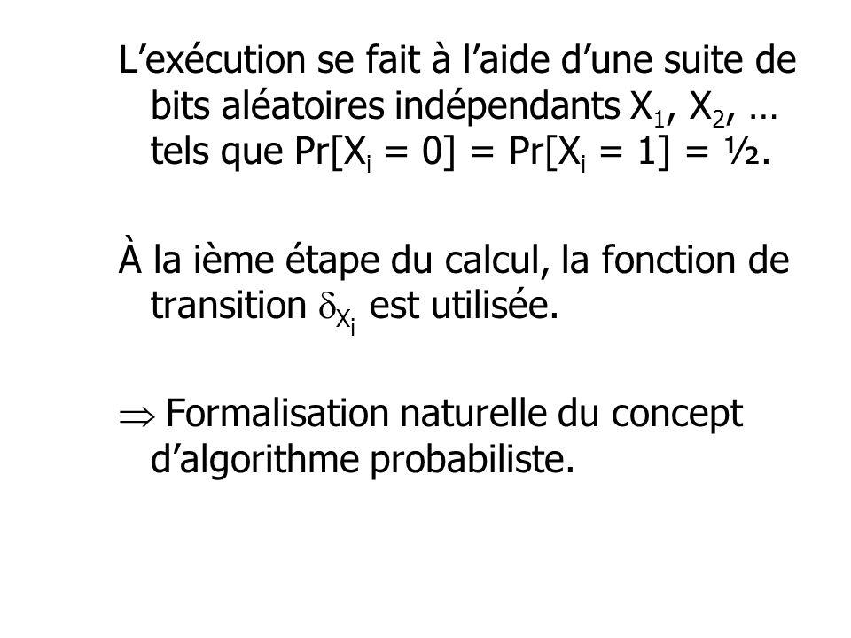 L'exécution se fait à l'aide d'une suite de bits aléatoires indépendants X1, X2, … tels que Pr[Xi = 0] = Pr[Xi = 1] = ½.